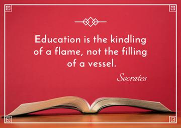 Educational quote with Opened Book