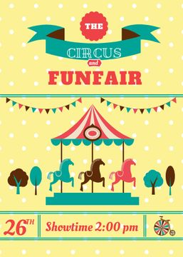 Circus and funfair invitation with Carousel