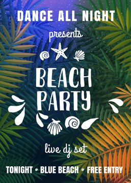Dance party invitation with Palm leaves