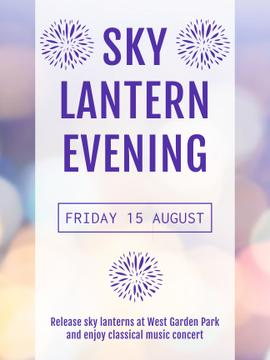 Sky lantern evening announcement on bokeh