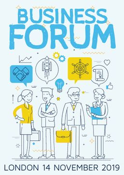 Business forum announcement with Colleagues and icons