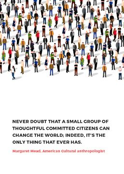 Changes inspirational quote with crowd of people