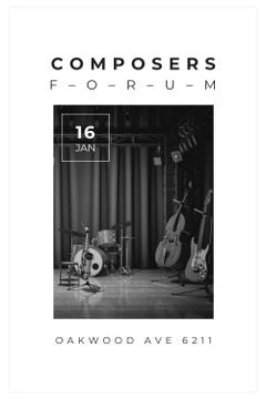 Composers Forum Invitation with Instruments on Stage