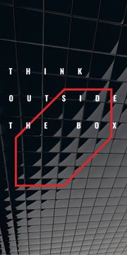 Think outside the box Quote on black tiles