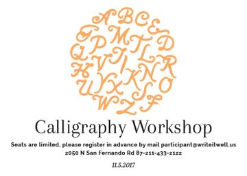 Calligraphy Workshop Announcement with Letters in Orange