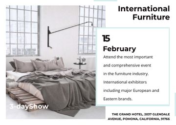 Furniture Show Bedroom in Grey Color