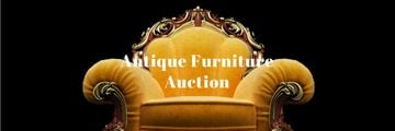Antique Furniture Auction with Luxury Yellow Armchair