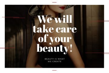 Beauty Studio Ad with Woman with Red Lips