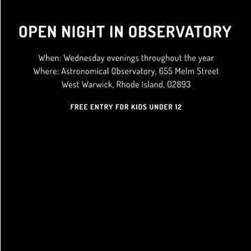 Open night in Observatory invitation