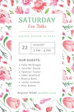 Ecological Event Announcement with Watercolor Flowers Pattern