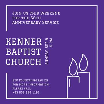 Invitation to Church on Purple