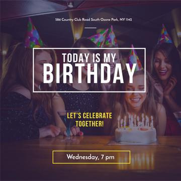Birthday Party Invitation with People celebrating