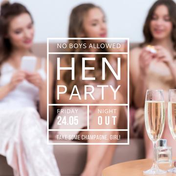 Hen party for girls with Girls drinking champagne