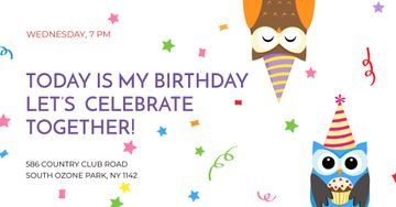 Birthday party Invitation with Cute Party Owls