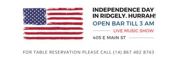 Independence Day Invitation USA Flag on White