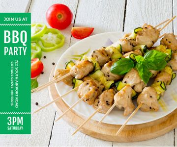BBQ Party Invitation Grilled Chicken on Skewers