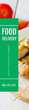 Food Delivery Offer Grilled Chicken on Skewers