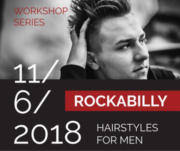 Workshop announcement Man with rockabilly hairstyle