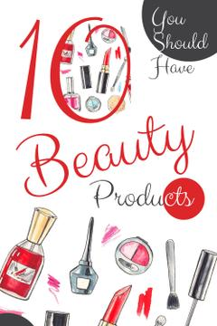Beauty Offer with Cosmetics Set in Red