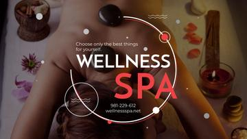 Wellness Spa Ad with Woman Relaxing at Stones Massage