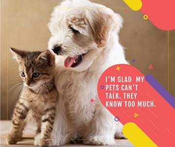 Pets Behavior quote with Cute Dog and Cat
