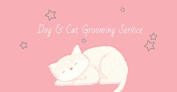 Grooming Service Ad with Cute Sleepy Cat
