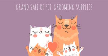 Sale of pet grooming supplies with Cute Cats