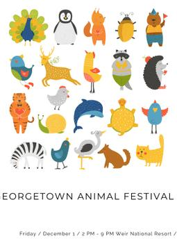 Animal festival with cute cartoon animals