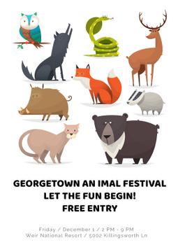 Animal festival with cute cartoon animals