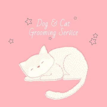 Grooming Service with Cute Cat Sleeping in Pink