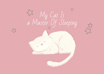 Cute Cat Sleeping in Pink