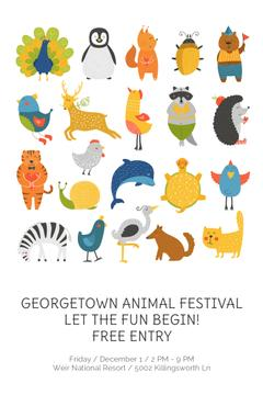 Animal Festival Announcement with Animals Icon