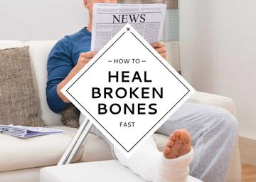 Man with Broken Leg reading Newspaper