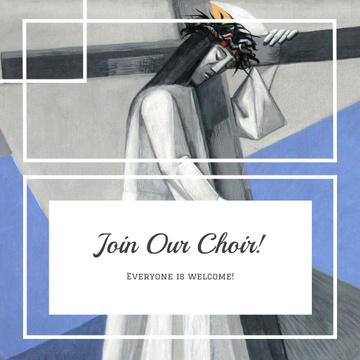 Church Choir Invitation with Christian Cross