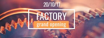 Factory Opening Announcement with Mechanism Cogwheels