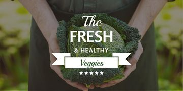 Fresh veggies poster with farmer