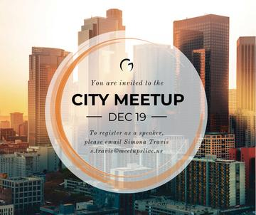 Real Estate Meetup Invitation Modern City Skyscrapers