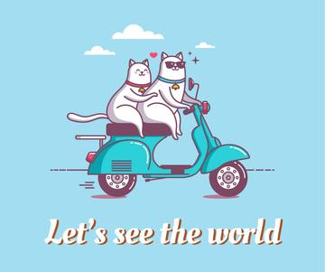 Motivational travel quote with cats on Scooter