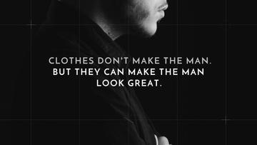 Fashion Quote with Businessman Wearing Suit in Black and White