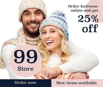 Knitwear store ad couple wearing Hats
