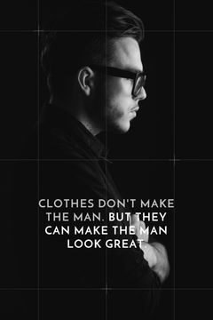 Fashion Quote Businessman Wearing Suit in Black and White