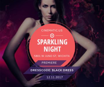 Night Party Invitation Woman in Glamorous Outfit