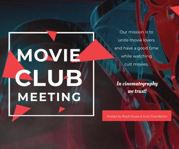 Movie Club Invitation with Vintage Film Projector
