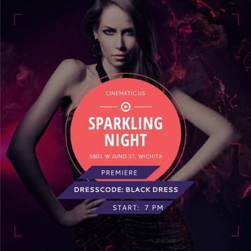 Sparkling night party with Attractive Woman