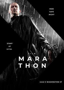 Film Marathon Ad with dangerous man holding gun