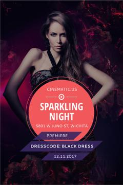 Night Party Invitation with Woman in Black Dress