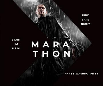 Film Marathon Ad Man with Gun under Rain
