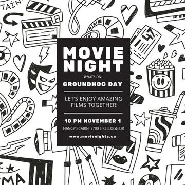Movie Night Event Arts Icons Pattern