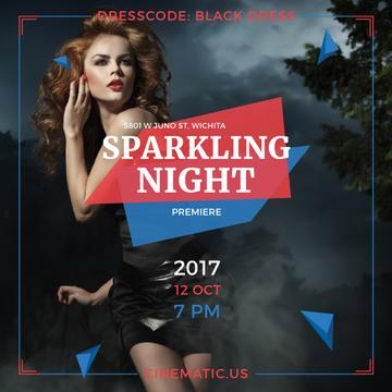 Night Party Invitation Woman in Black Dress
