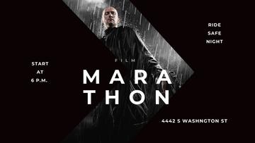 Film Marathon Ad with Man with Gun under Rain
